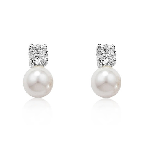 Silver Pearl & Cubic Zirconia Stud Earrings