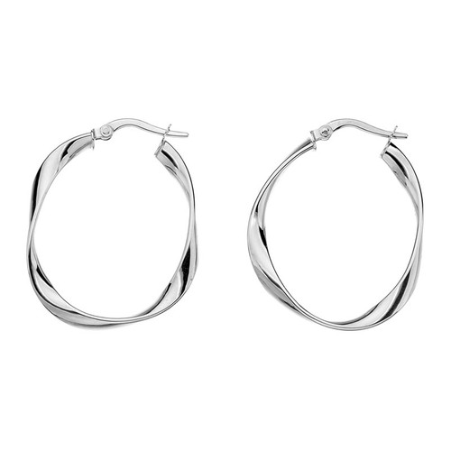 9ct White Gold Creole Twist Hoop Earrings