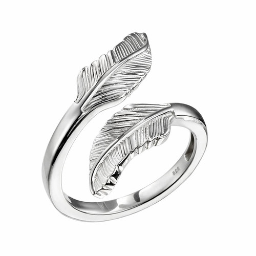 Sterling Silver Feather Wrap Around Ring