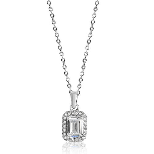 Luminous Silver Emerald Cut Halo Pendant