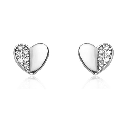 Silver Cubic Zirconia Pave Heart Stud Earrings