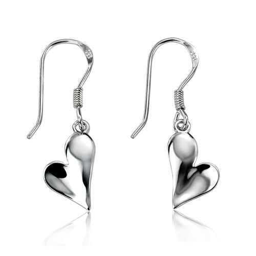 Silver Curve Heart Drop Earrings