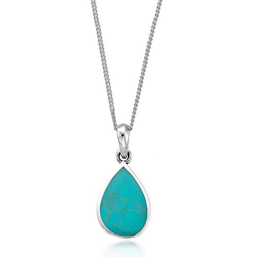 Sterling Silver Turquoise Teardrop Pendant