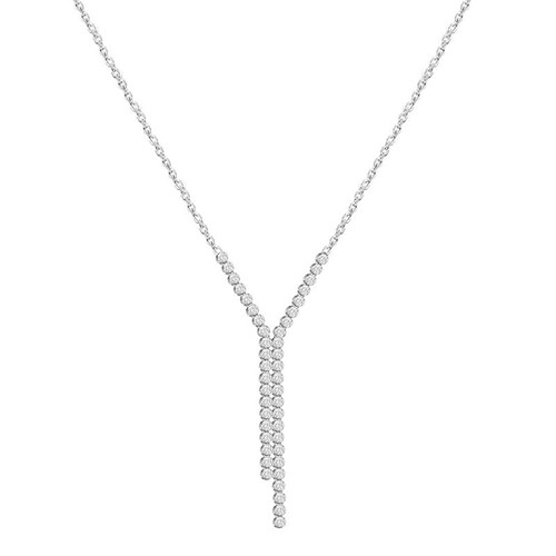 Sterling Silver Cubic Zirconia Y Drop Necklace