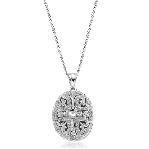 9ct White Gold Diamond Oval Filigree Locket