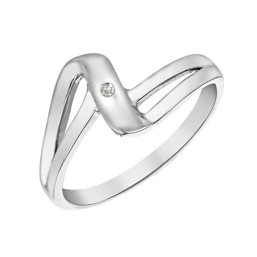 Sterling Silver Diamond Crossover Wave Ring