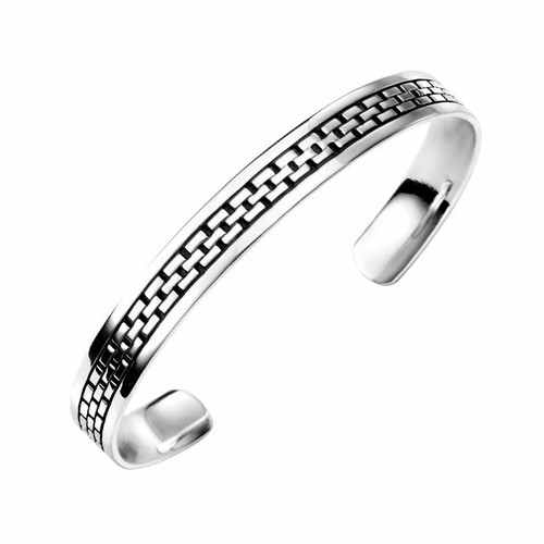Men's Solid Silver Link Pattern Cuff Bangle