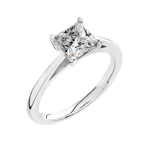 Luminous Silver Square Solitaire Ring