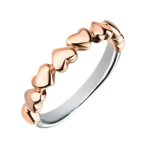 Silver & Rose Gold Linked Hearts Ring