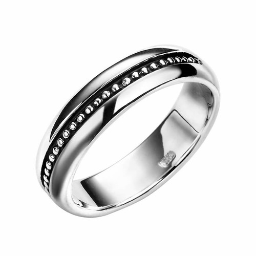 Men's Sterling Silver Oxidized Bead Detail Ring
