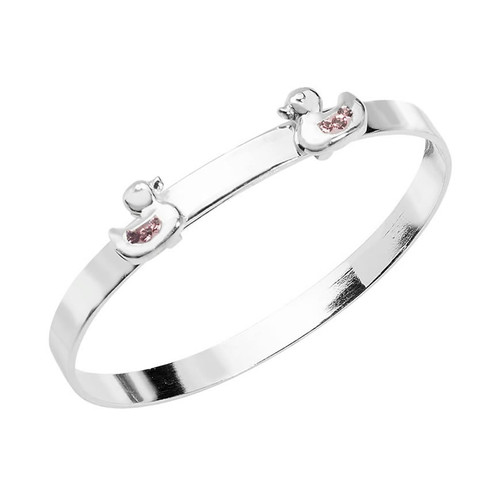 Sterling Silver 2 Little Ducks Baby Bangle