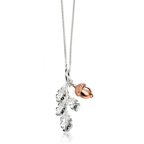 Silver & Rose Gold Acorn Necklace