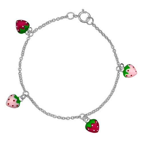 Children's Sterling Silver Strawberry Charm Bracelet