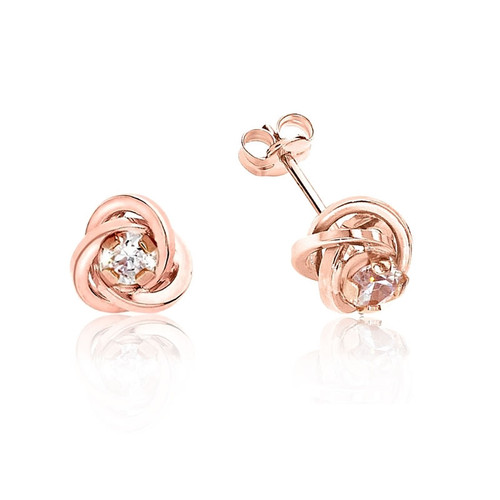 9ct Rose Gold Cubic Zirconia Knot Stud Earrings