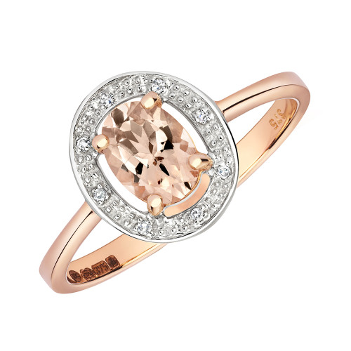 9ct Rose Gold Oval Morganite & Diamond Halo Ring