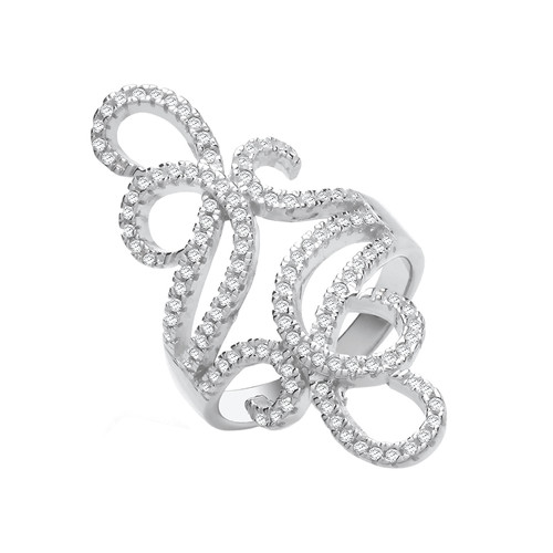 Silver Cubic Zirconia Long Filigree Ring