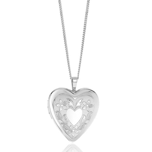 Sterling Silver Etched Flower & Wings Heart Locket