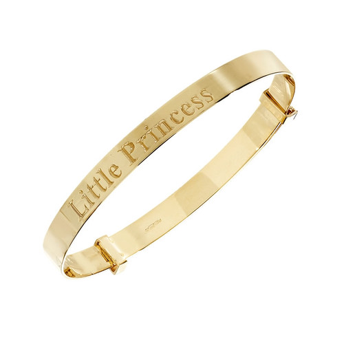 9ct Gold Little Princess Expander Baby Bangle