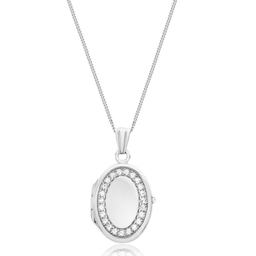 Sterling Silver Oval Cubic Zirconia Locket