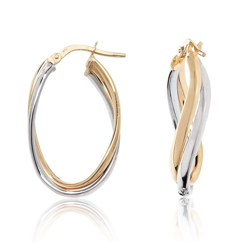 9ct Gold Two Colour Oval Twist Creole Hoop Earrings 1