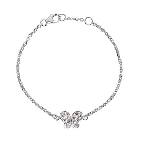 Children's Sterling Silver Pink Crystal Butterfly Bracelet
