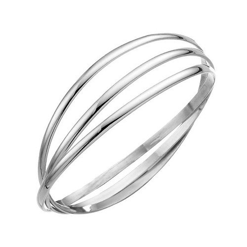 Sterling Silver Solid Triple Bangle