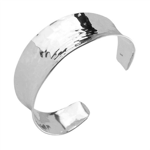 Sterling Silver Concave Hammered Bangle