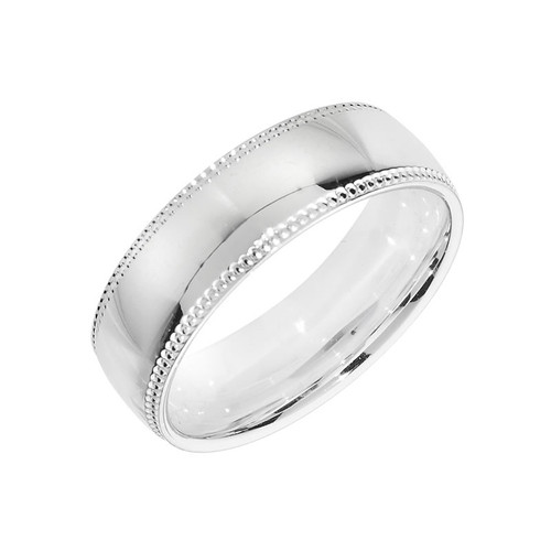 Sterling Silver Milgrain Wedding Band Ring 6mm