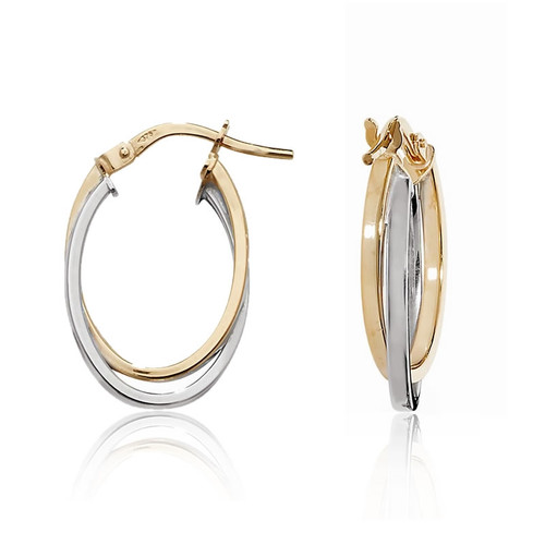 9ct Two Colour Gold Oval Hoop Earrings