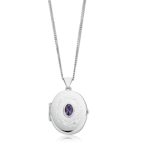 Sterling Silver Amethyst Oval Locket