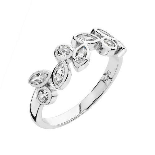 Silver Cubic Zirconia Marquise Band Ring