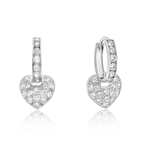 9ct White Gold Cubic Zirconia Heart Drop Hoop Earrings