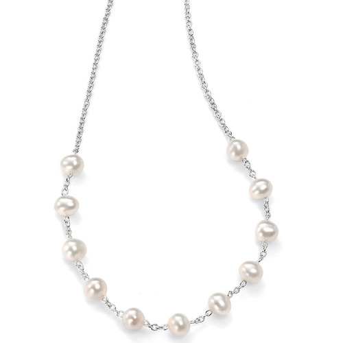 Silver Freshwater Pearl Station Necklace