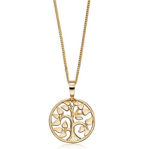 9ct Gold Tree Of Life Circle Necklace