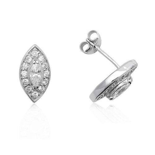 Sterling Silver Marquise Cubic Zirconia Stud Earrings