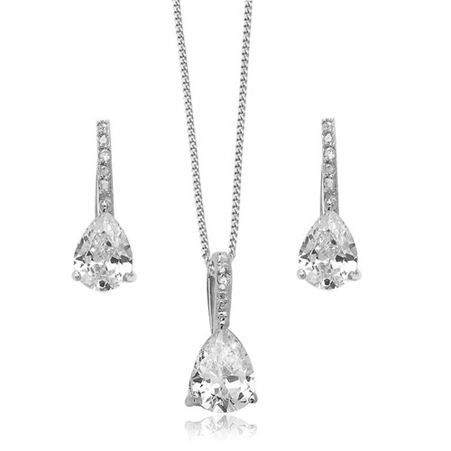 Silver Cubic Zirconia Teardrop Necklace & Earrings Set