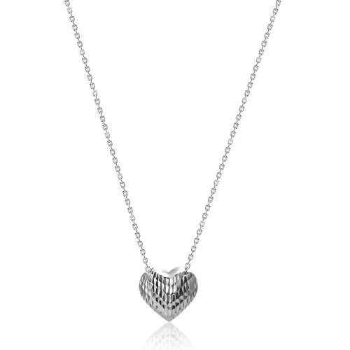 9ct White Gold Diamond Cut Heart Slider Necklace