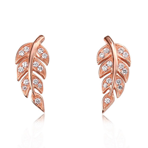 Rose Gold Pave Leaf Earrings
