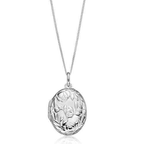 Sterling Silver Oval Roses Locket