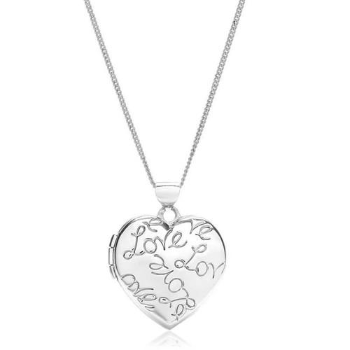 9ct White Gold Love Heart Locket