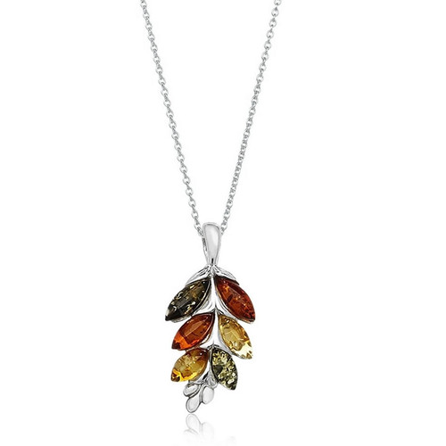 Sterling Silver Three Colour Amber Pendant