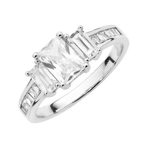 Sterling Silver Emerald Cut Cubic Zirconia Ring