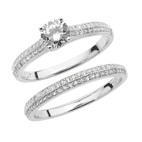 Sterling Silver Solitaire Cubic Zirconia Bridal Ring Set