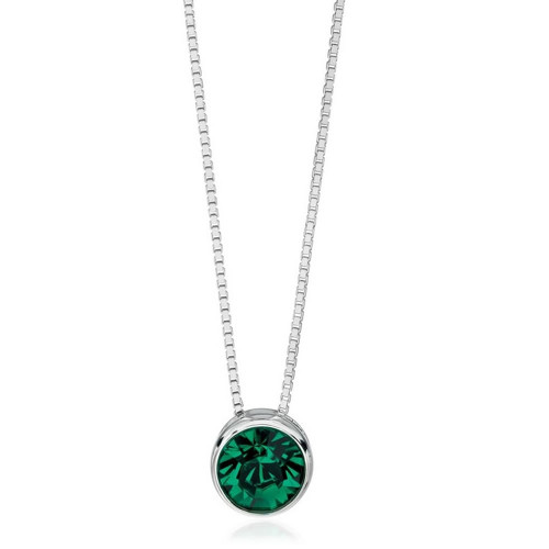 Silver Green Crystal Slider Necklace