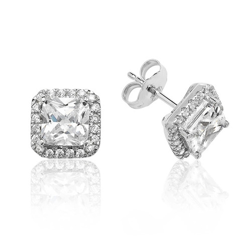 Luminous Silver Square Halo Stud Earrings 1