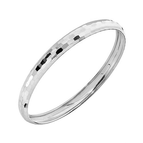 Sterling Silver Faceted Round Bangle