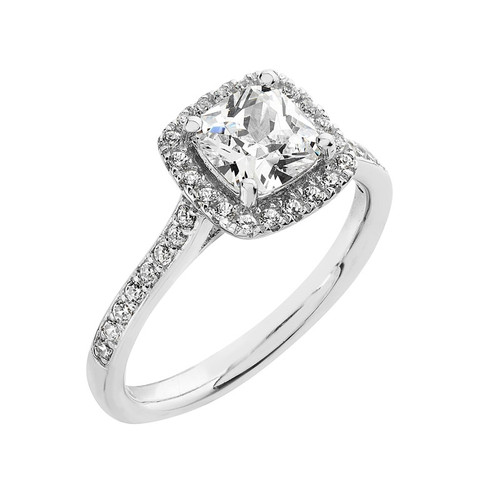 Luminous Silver Cushion Cut Halo Ring