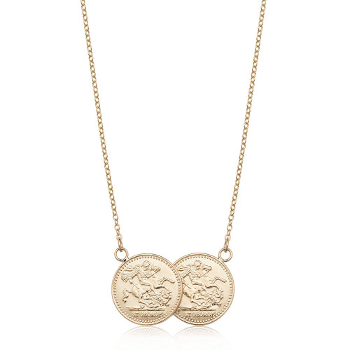 Silver Gold Plated Two Coin Necklace