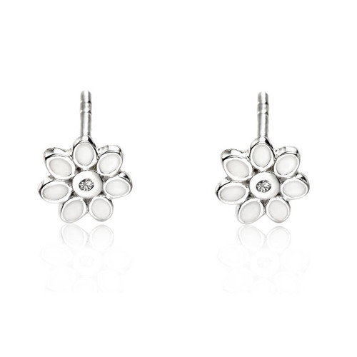 Children's Silver Diamond Flower Stud Earrings