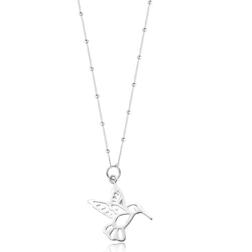 Silver Beaded Chain Hummingbird Necklace